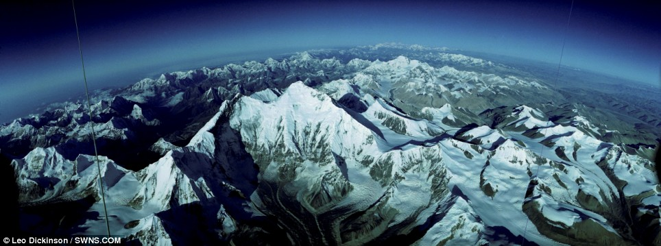 Mt. Everest, from one mile above the summit.